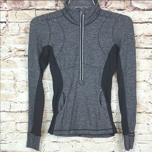 Lululemon- black&gray athletic mid zip jacket